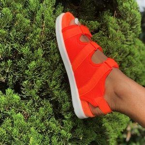 Women's Bright Orange Mesh Sandals